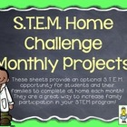 STEM Home Challenges for Every Month ~ 14 Project Sheets f