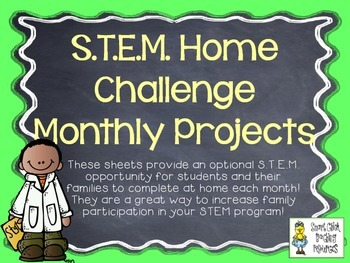 STEM Home Challenges for Every Month ~ 14 Project Sheets for the Year!