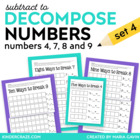 SUBTRACT to Decompose Numbers - Hands On for 4 7 8 &amp; 9 (set 3)