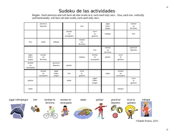 SUDOKU! Review Spanish Verbs (in addition to Realidades 1A!)