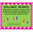 SYLLABLE SEARCH - A SmartBoard Syllabication Activity