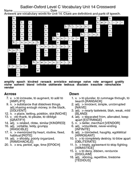 Sadlier-Oxford Level C Vocabulary Unit 14 Crossword & Word Search