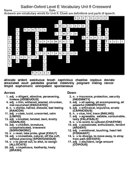 Sadlier-Oxford Level E Vocabulary Unit 9 Crossword & Word Search