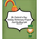 Saint Patrick's Day Holiday Dictionary Spelling Project