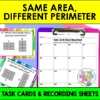 Same Area, Different Perimeter Task Cards and Record Sheet