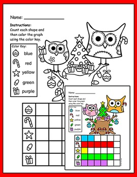 Santa Owl Christmas Tree - Color, Count & Graph Activity