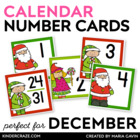 Santa Themed Christmas Calendar Numbers