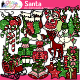 Santa is Coming to Christmas Town Clipart: Rudolph, Frosty