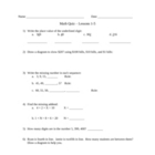 Saxon Math Lessons 1-5 Quiz For Fourth Grade