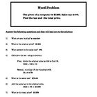 Scaffolding Sales Tax Percent Word Problems