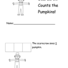 Scarecrow counts Pumpkins 1-7