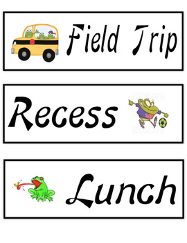 Schedule Cards Frog Theme