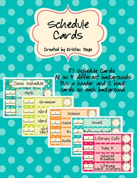 Schedule Cards - Turquoise Dots Theme