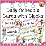 Schedule Cards with Clocks - Polka dot stripes
