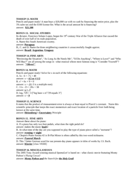 Scholastic Quiz Bowl Practice Questions - High School Level