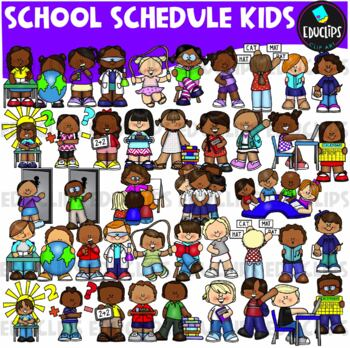 School Schedule Kids Clip Art Bundle