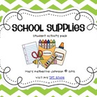 School Supplies {Student Emergent Reader &amp; Activity Pack}