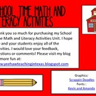 School Time Math and Literacy Activities