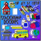Schooltime Doodles digital clip art (BW and Color PNG)