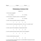 Science Fair Judging Form