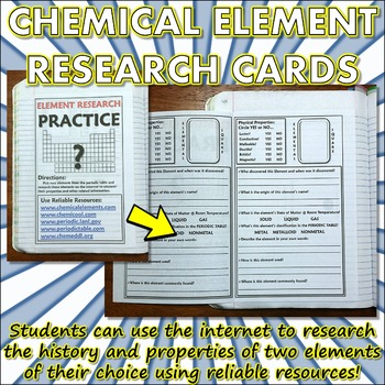 Science Journal: Element Research Cards