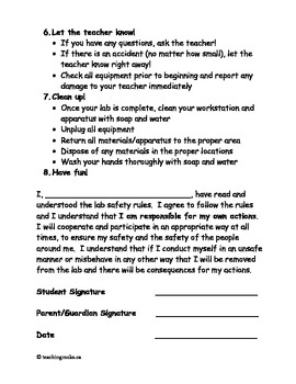 Science Labs:  An Intro to Lab Safety...Great for September!!