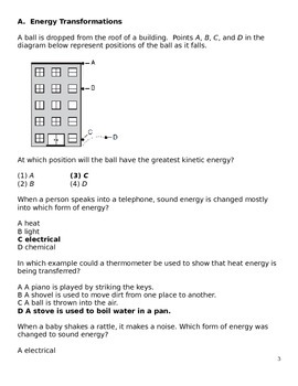 Science Question Bank:  Forms/Transformations of Energy (5 - 8)