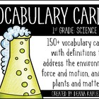 Science Vocabulary Cards {1st Grade Common Core}