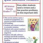Scientific Notation Worksheet or Quiz or Homework