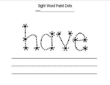 Scott Foresman Paint Dot Sight Words - Kindergarten