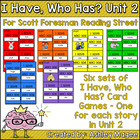 Scott Foresman Reading Street I Have Who Has Cards Unit 2