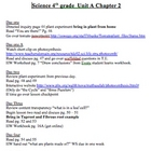 Scott Foresman Science Unit Plans Chapter Two 4th grade (Plants)