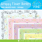 Scrappy Flower Borders - Perfect for Spring - Graphics / Frames
