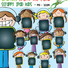 Scrappy iPad Kids with Headphones - Clipart for Teachers