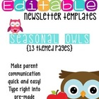 Seasonal Owl Themed Classroom Newsletters