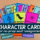 Seating chart character cards