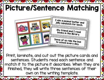 Second Grade Back to School Language Activities