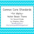 Second Grade Common Core Display Cards (Water Beach Theme)
