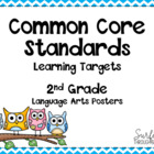 Second Grade Common Core ELA Standards Posters-Owl Theme