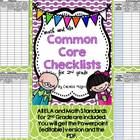 Second Grade Common Core ELA and Math Checklists-Editable