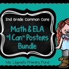 "Second Grade Common Core Math & ELA ""I Can"" Statement Posters"