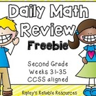 Second Grade Daily Math Review ~ CCSS Based ~ Weeks 31-35 (Free!)