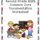 Second Grade Math Common Core Documentation Worksheet