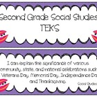 Second Grade Social Studies TEKS Cards