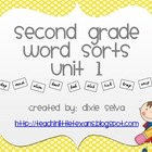 Second Grade Word Sorts- Unit 1 with D'Nealian font