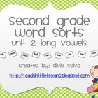 "Second Grade Word Sorts Unit 2 ~ Long Vowels ""Cinnamon Cake"" Font"