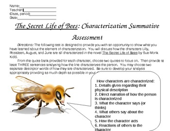 Secret Life of Bees Characterization Summative Assessment