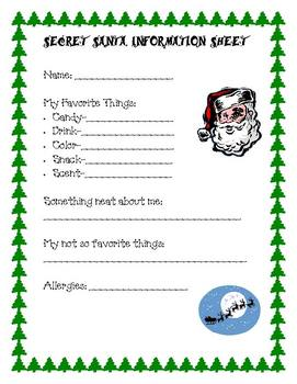 Secret Santa Information Sheet