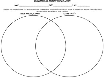 """Selma Lord Selma"" Venn Diagram Activity"