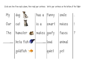 Sentence Building Folder - Pets (Common Core)